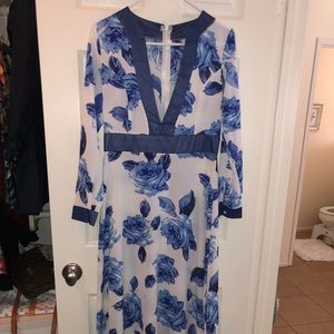 Blue and white floral floor length dress